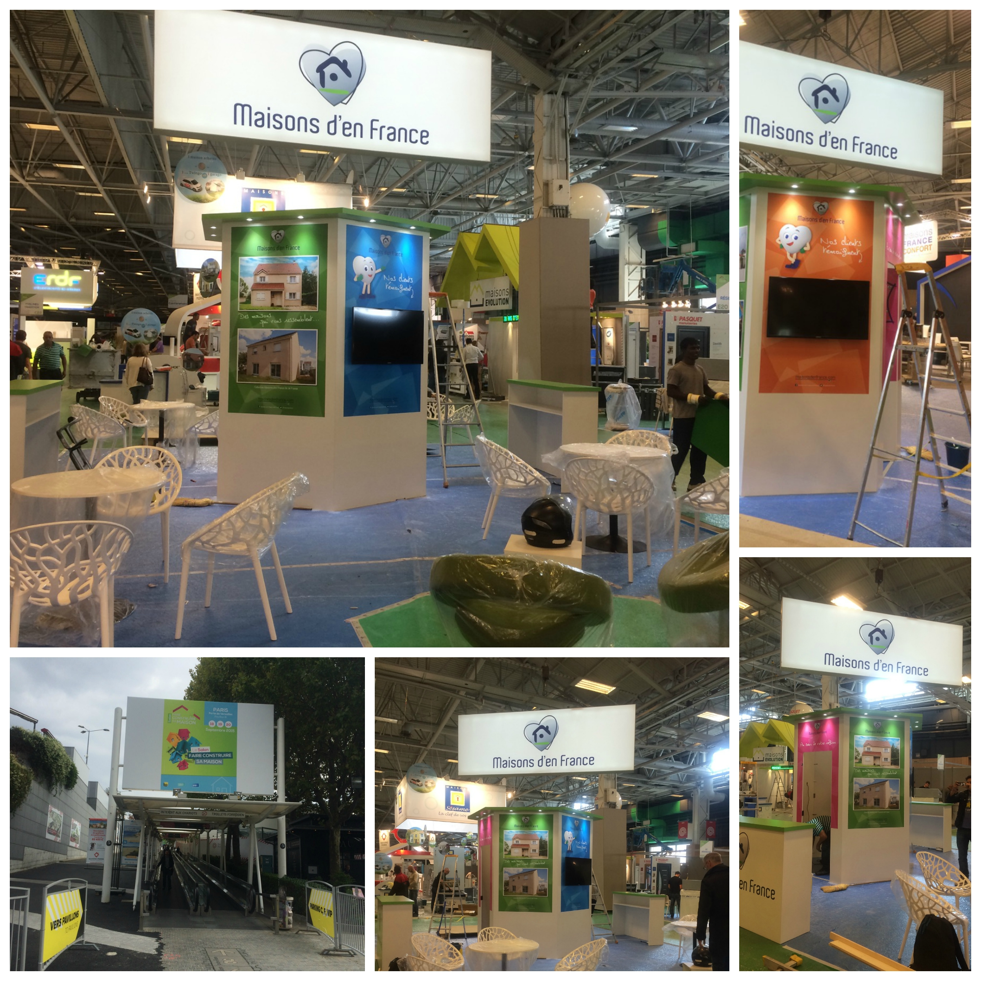 Montage de stand au salon faire construire for Montage stand salon